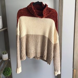Poof Apparel Block Chenille Turtleneck Sweater